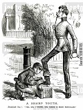 Boy cleaning servant's shoes