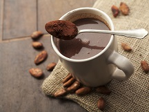 Hot chocolate with cocoa beans