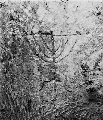 menorah graffiti in catacomb B and white - Copy