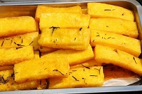 Yellow cream called POLENTA in Italy cooked very tasty grilled
